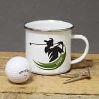 Personalised Golf Player Enamel Mug - ideal gift for any golf fan or player